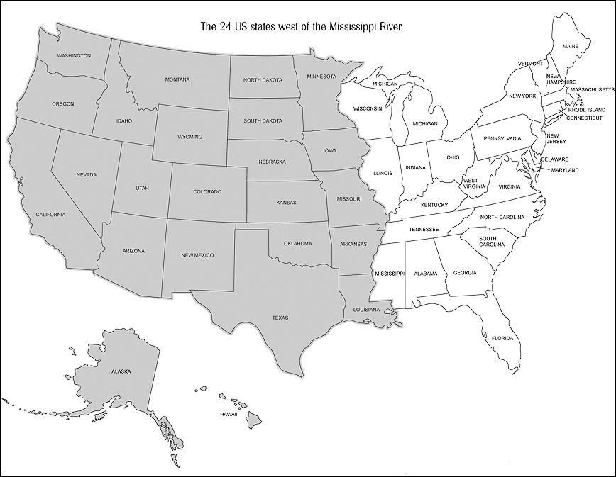 Map showing the twenty four (24) US States West of Mississippi River in gray