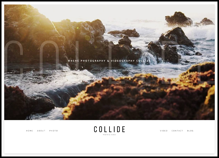 Prophoto 7 presents the custom designed theme page Collide for photo and video website.