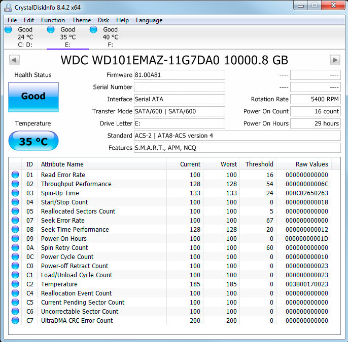 CrystalDiskInfo read out for 10TB Western Digital WD101EMAZ hard drive - running at 35 °C - 5400 RPM