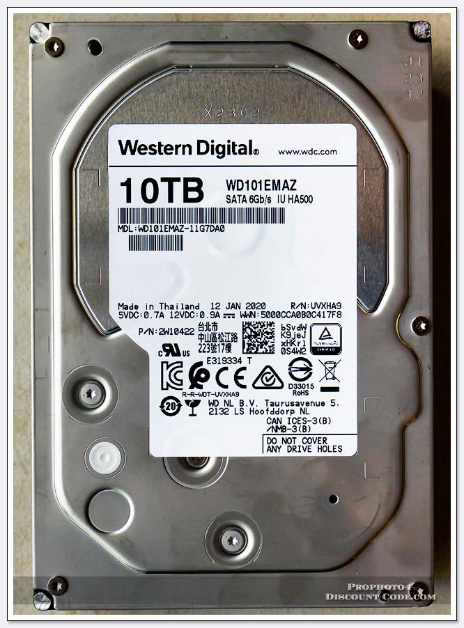 Western Digital Model # WD101EMAZ 10TB hard drive shucked from WD Elements external storage system.